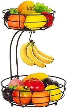 Auledio 2-Tier Countertop Fruit Vegetables Basket Bowl Storage