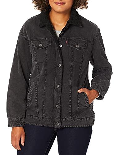 Levi's Women's Oversized Acid Washed Cotton Sherpa Trucker Jacket Black, Medium