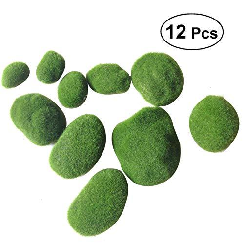 Healifty Bolas de Musgo Artificial Verde Piedras Decorativas para Acuarios Jarrones Decoración de Mesa Maceta Terrario Decoración 12 Piezas