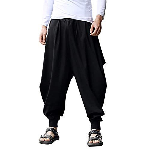Pantaloni Harem da Uomo Cotton Linen Festival Baggy Solidi zingara retrò-Spirale Pantaloni Unisex Harem-Pantaloni Pantaloncini Cavallo Basso Jogging Casuale Forti Tempo Libero(Nero,M)