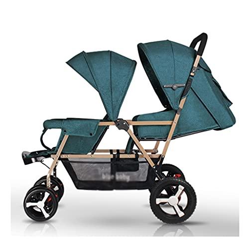 Yyqx sillas de Paseo Cochecito de bebé Gemelo, retracción de un botón Ligero, Sentado Plegable y reclinadores reclinables para Dos niños (Color : Dark Green+Gold Tube)