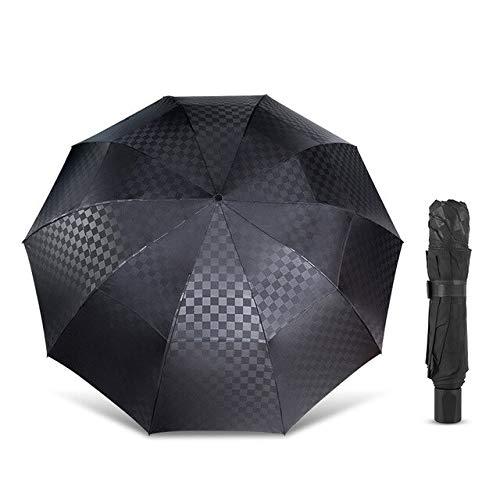 Funmoon - Paraguas grande doble capa para hombres y mujeres, 3 capas, 10 K, cortavientos, para negocios, viajes en familia