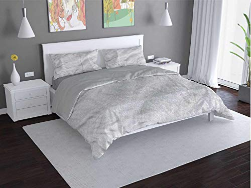 Toopeek Grey Quilt cover 3-piece set Intricate-Damask-Petals-Asian Super soft and easy to maintain (King)
