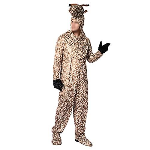 THAT NIGHT Pijama de animales para adultos, unisex, de una pieza, disfraz de jirafa de felpa, mono único, para fiesta de Halloween, Jirafa, Talla única