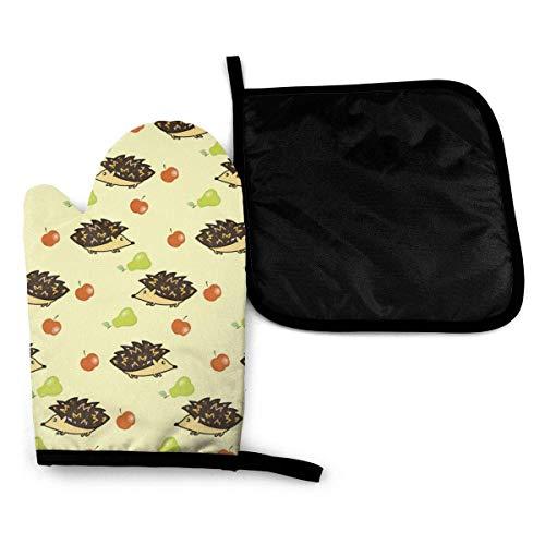 iuitt7rtree Ofenhandschuhe und Topflappen, Igel, Äpfel und Birnen, hitzebeständige Baumwolle, rutschfeste Mikrowellen-Handschuhe für Backen und Küche