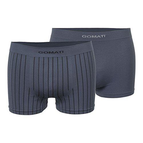 Gomati Herren Seamless Pants (2er Pack), Nahtlose Boxershorts aus Microfaser - Anthrazit S-M