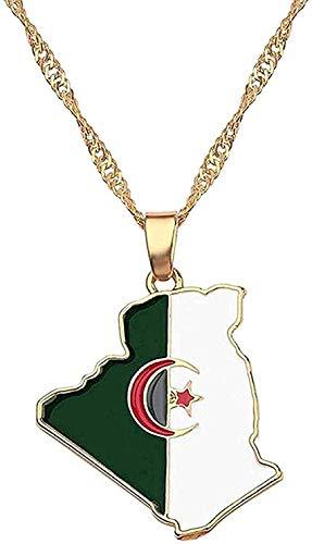Yiffshunl Collar Moda Irak Nigeria Ghana Ghana Australia Kurdistán Mapa Colgante Collar para Mujeres Accesorios de joyería de Oro África Jamaica Mapa Regalos