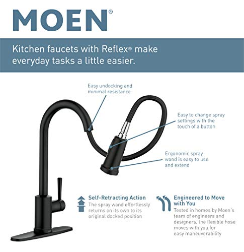 Moen S75005SRS Nio One-Handle Pull-down Kitchen Faucet with Power Clean, Includes Secondary Finish Handle Option, Spot Resist Stainless