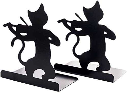 ブックエンド 本立て ブックスタンド 猫と音楽 演奏 金属製 ブックオーガナイザー 学校 部屋 卓上収納 机と本棚の飾り物 置物 インテリア(猫とト音記号)… ((猫とバイオリン)×2)