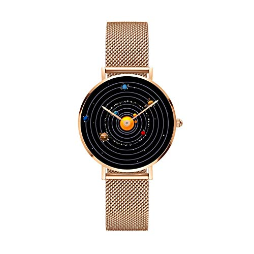 Planet Watch Unisex Astronomy Planetary Celestial Planetarium Watch (36mm - Rose Gold with Rose Gold Metal Strap)