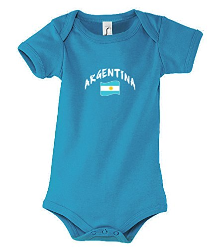Supportershop–Body para bebé, diseño de Equipo de fútbol de Argentina, Color Azul, Body bébé Aqua Argentine, Azul, 6-12 Meses