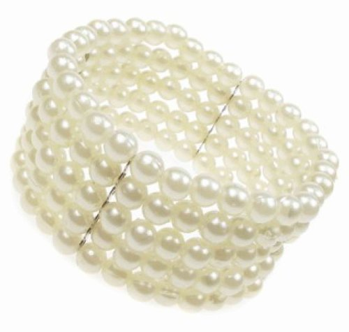 Crystal innovation-2883 5 Row stretch Pearl bead corsage cuff bracelet.
