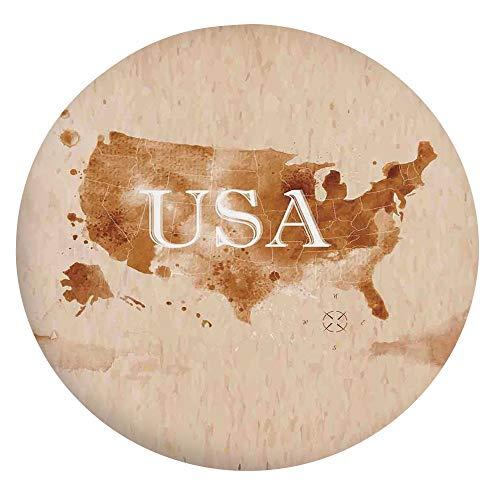 Mantel de mesa elástico resistente a las manchas, diseño retro de Mapa del País Suroeste y Alaska, para mesas redondas de 45 a 48 pulgadas, para comedor, cocina, fiesta, Perú, color marrón y blanco