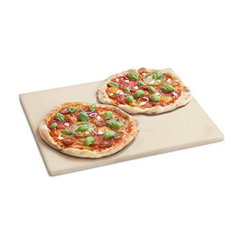 BURNHARD Pierre à Pizza rectangulaire 45 x 35 x 1.5 cm en cordierit pour Le Four et Barbecue, idéal pour la Pizza et Le Pain Faits Maison, Ainsi Que la Tarte flambée