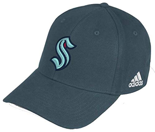adidas Mens Seattle Kraken Flex Hat Baseball Cap NHL Hockey Washington (L/XL) Gray