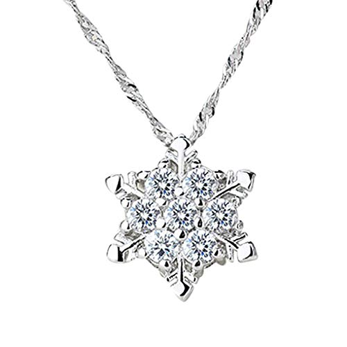 Dorical Anhänger Halskette für Damen/Frauen & Mädchen Halskette Silber mit Schneeflocke Elegant Halskette Festival Kette Schmuck Accessory Geschenk Valentinstag Glücksbringer Promo