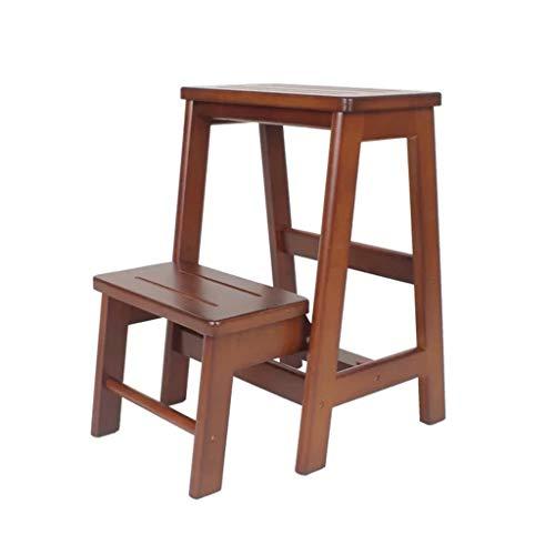 Kruk Ladder Stap Kruk Multifunctionele Vouwladder Creatieve Draagbare Stap Kruk Rubber Hout Tweedehands Kruk Thuis Indoor Vouwladder (Kleur : BROWN, Maat : 48 * 54 * 38CM)