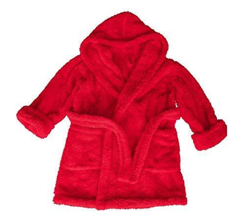 DKaren Kinder Bademantel mit Kapuze | Jungen und Mädchen | Größen 98-152 100% Polyester | 104 Rot