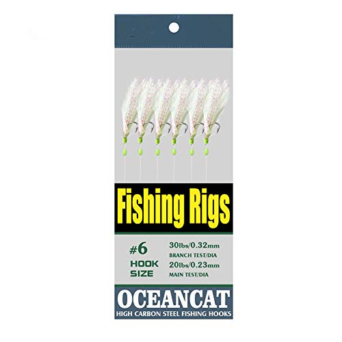 10/20 Packs 3 Feather & Fish Skin 6 Hooks Saltwater Fishing Rigs with String Hook Lure Bait Tackle Jig (8#, 10 Packs)
