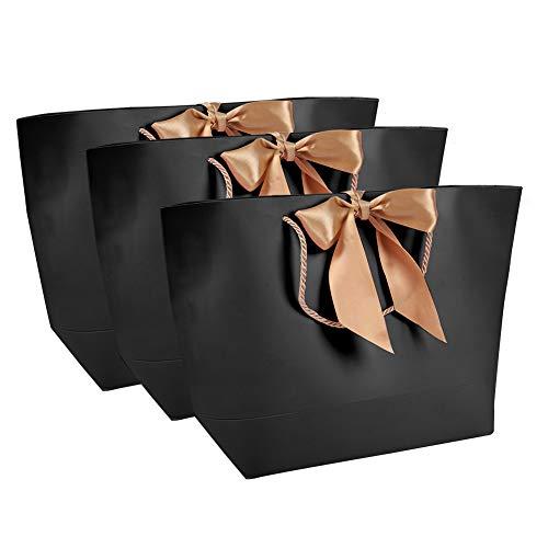 Salmue 10er Schwarz Hochwertige Papiertüten, einfache Papiertüten geschenktaschen geschenktüte, dekorative Geschenkpapiertüten, Kleidung Kosmetik Geschenk Papiertüten für die Verpackung verwendet