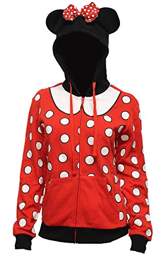 Disney Men's Juniors Minnie Mouse Costume Hoodie Jacket with 3D Ears and Bow, Minne Polka Dot, Medium