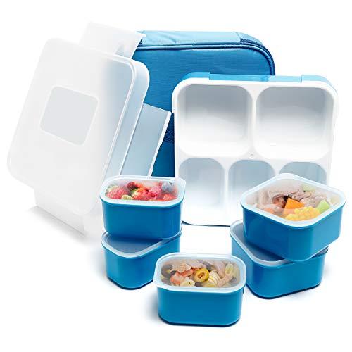 Ensemble de boîte à lunch Bento - 5 compartiments - Isotherme, étanche, respectueux de l'environnement et réutilisable - Pour homme, femme et enfant 5-compartment Bleu
