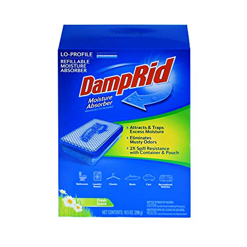 DampRid LoProfile Refillable Moisture Absorber, 10.5 Oz with Fresh Scent Fragrance Slim for Small Spaces like Vehicles, Shelves or Under Beds Remove Excess Moisture and Create Fresher, Cleaner Air