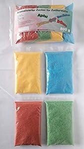 Azúcar para algodón de azúcar multicolor con sabor 4 x 200 g – manzana – fresa – plátano – frambuesa azul | perfecto para cualquier máquina de algodón de azúcar | 800 gramos en total
