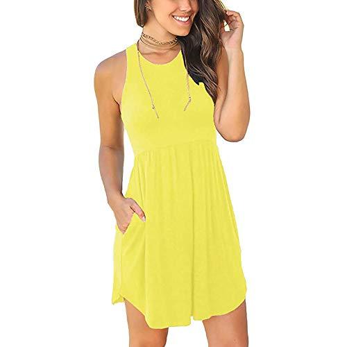 Sommerkleid Damen Casual Loose T-Shirt Kleider Ärmellos Rundhals Elegant Boho Blumen Strand Kleider Sommer Basic MiniKleid mit Taschen