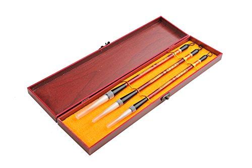 Quantum Abacus Calligrafica Pro: 3 pinceles profesionales de caligrafía para expertos en caligrafía china o japonesa (Yangmao + Zamao), en elegante caja de regalo, H-CGB-S3-03