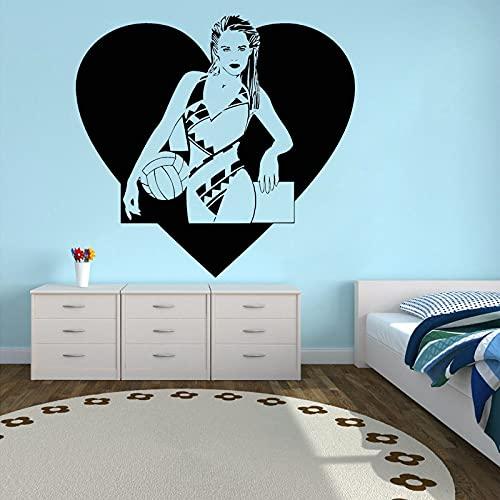Mädchen Wandaufkleber Beach Volleyball Applique Badeanzug Bikini Wanddekoration Schlafzimmer Dekoration Badezimmer Kunstwand Herzform-28x30cm