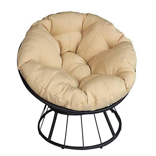 Papasan-Sessel aus Rattan, Indoor Outdoor Möbel Stuhl Deep Seating Moon Chair Glider, Solid Twill-Stoff Khaki Kissen (Khaki)
