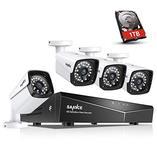 SANNCE XPoE Kit de 4 Cámaras de Vigilancia Seguridad 1080P CCTV...
