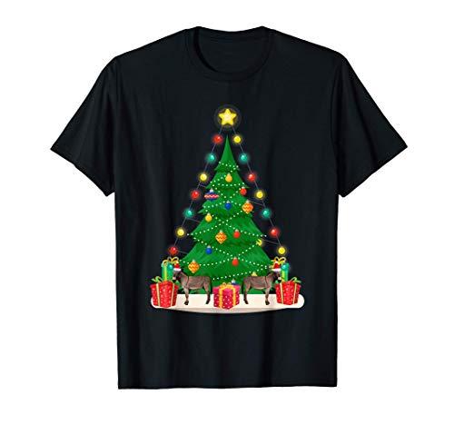 Santa Donkey Christmas Tree Funny Xmas Holiday Gift Donkey T-Shirt