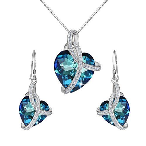 Clearine Donna Set Collana e Orecchini e Argento'Amore Cuore di dell'Oceano' Cerimonia Nuziale Elegante Parure gioielli Argento 925 e Cristalli Bermuda Blu