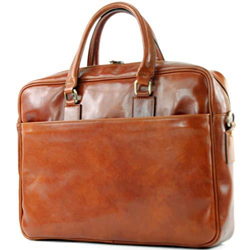 modamoda de - A004 - ital. Business Laptop Reise Tasche Leder, Farbe:Cognac