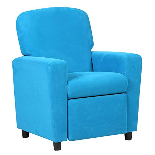 Costzon Kids Recliner Sofa, Children Contemporary Suede Armchair Room Furniture for Toddler Boys Girls, Small Sofa Chair (Blue)