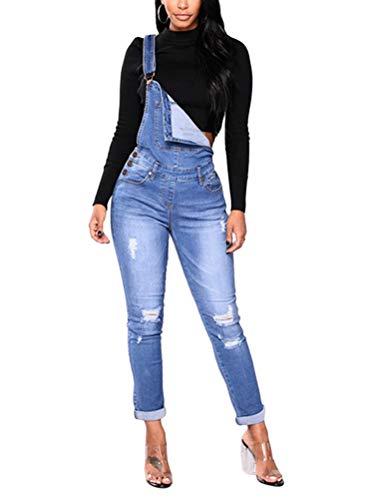 Tomwell Jeanslatzhose Damen Latzhose Jeans Hose Vintage Loose fit Jumpsuit Overall Blumen Denim Playsuit Romper E Blau XX-Large