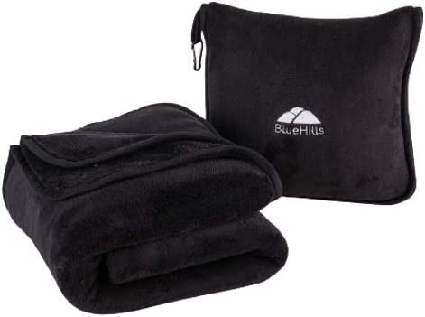BlueHills Premium Soft Travel Blanket Pillow Airplane Blanket Packed in Soft Bag Pillowcase product image