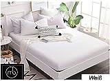 Mixibaby Spannbettlaken Jersey Spannbetttuch 100% Baumwolle Bettlaken Spannbettuch Laken, Farbe:weiß, Größe:140 x 200 cm