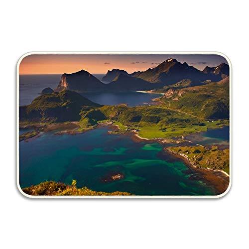 Custom Home Coastline Hill Sea Norway Decorative Floor Mat Kitchen,Bathroom Doormat Entry Rug23.6(L) x 15.7(W) inch