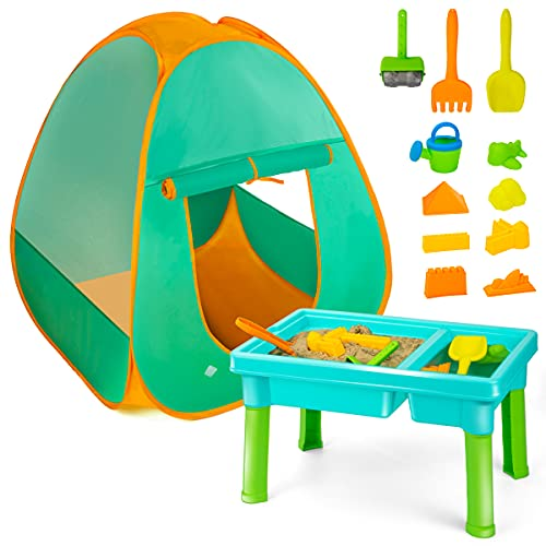Kids Sand and Water Table with Play Tent Toddler Beach Toys Set with Tent for Kids IndoorampOutdoor Toys Beach Play Activity Table Sandbox Toys for 2 3 4 5 Year Old Boys Girls Gift