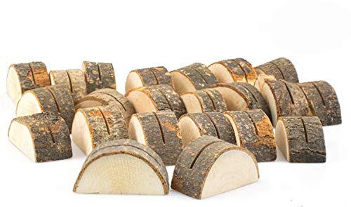 Tebery - 30soportes de madera semicirculares para colocar números, tarjetas, fotos, etc., sobre mesas