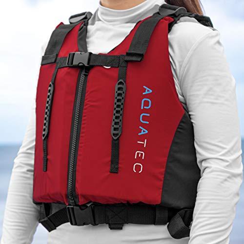 AQUATEC Tour Chaleco de Ayuda a la Flotación 70N – Flotador para Deportes Acuáticos en Rojo Fluorescente para Niños y Adultos   Kayak, Canoa, Natación y Aprendizaje  Ayuda Flotabilidad en 3 Tallas (L)