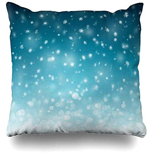 Fundas de Cojines Fundas Cojines Cool Blue Christmas Winter Snowflakes Snow Naturaleza Navidad Frozen Ice Snowfall Holiday Space Funda de Almohada 18'x18'