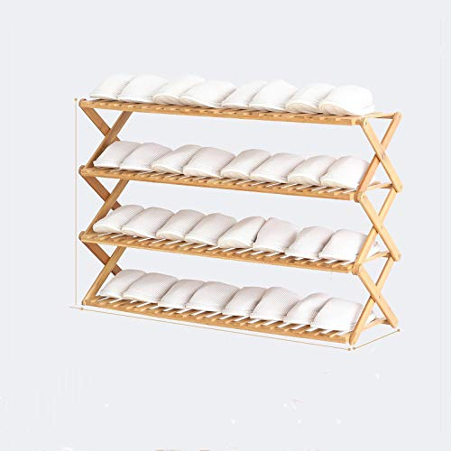 WWWL Zapatero Organizador de Estante de Zapatos Plegable Rack 4/5 Layers Bamboo Shoe Cabinets Shelf Home Holder Shoes Storage Rack for Dormitory Doorway 4Layers100cm