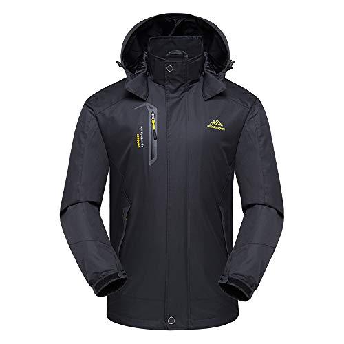 Lixada Softshelljas Waterdicht Winddicht Ski-jack Dames Outdoor jas Warme Winterjas Regenjas Sportkleding (Zwart mannelijk, 2XL (EU))
