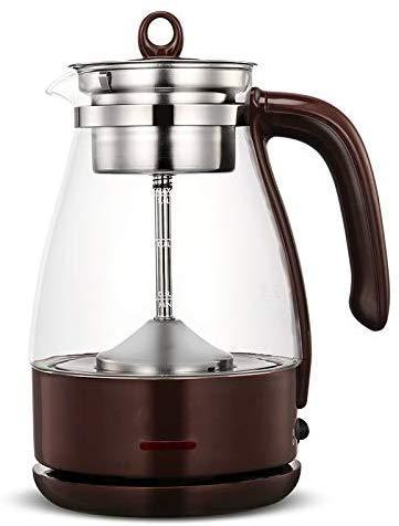 Mnjin Portable Bouilloire électrique Bouilloire en Verre Bouilloire électrique Brew Tea Pot Noir PU 'ER Verre théière à Vapeur électrique Conservation de la Chaleur Automatique Kett