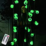 DAYLIGHTIR Halloween Ghost Eyeball String Lights, 16ft 30LED Battery-Powered Remote-Control Perfect Halloween Decoration for Outdoor, Indoor, Garden, Yard, Tree, Party (Green)
