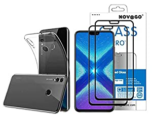 Novago Compatible with Huawei Honor 8X Pack (3 in 1) Soft Transparent Anti-Shock Case + 2 Full Screen Tempered Glass Screen Protectors